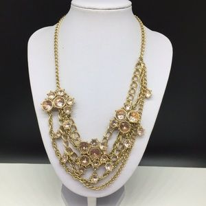 J CREW Light Pink Champagne Rhinestone Necklace
